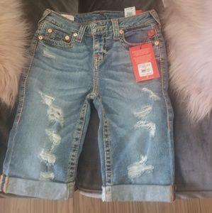 True Religion Size 27 destress knee shorts
